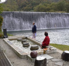 肘折温泉「源泉公園」